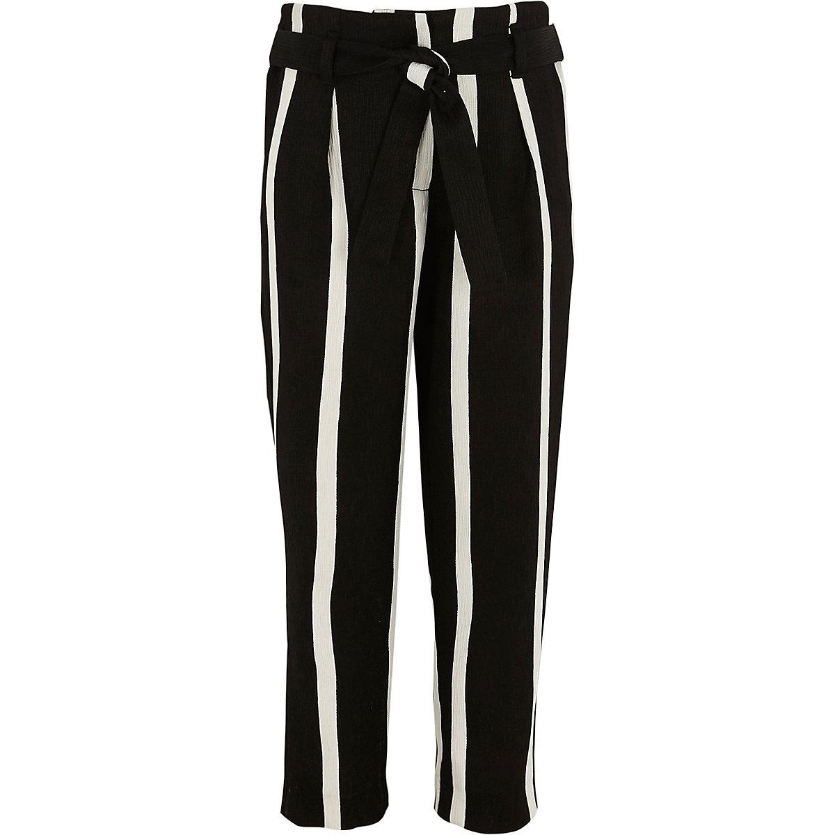 Girls black stripe tie waist tapered trousers