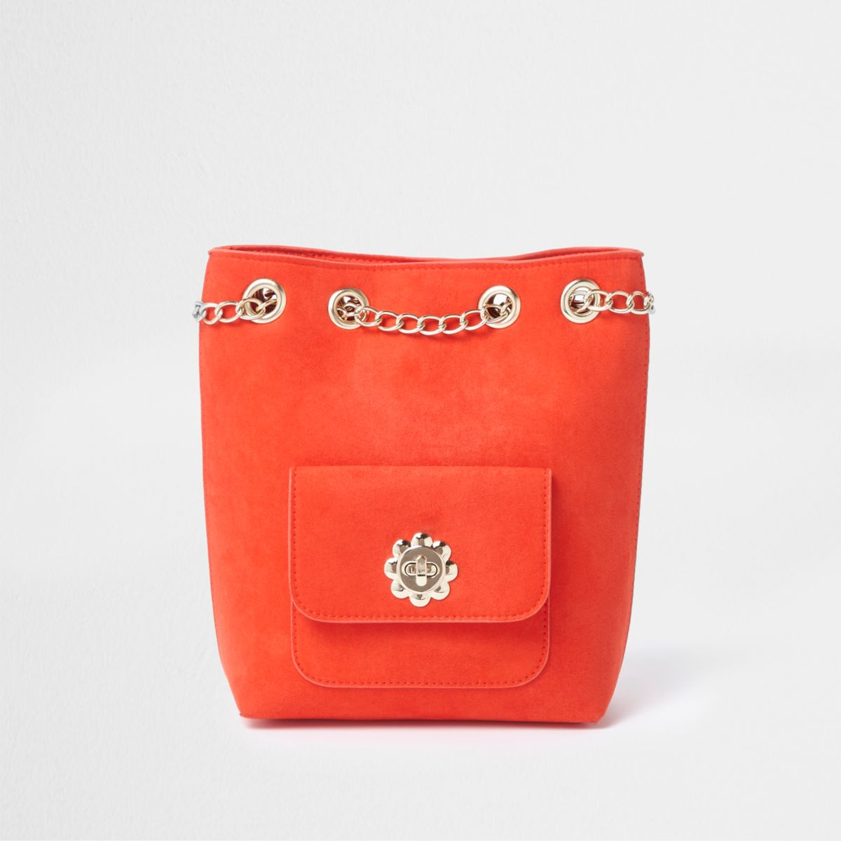Girls red chain duffle daisy lock backpack
