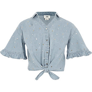 Girls denim sequin tie front shirt