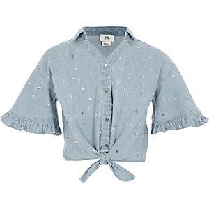 Denim overhemd met strik voor en lovertjes voor meisjes