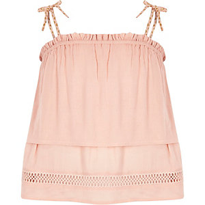 Girls pink double layer tassel strap cami top