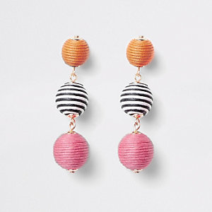 Girls pink RI Studio stripe ball earrings