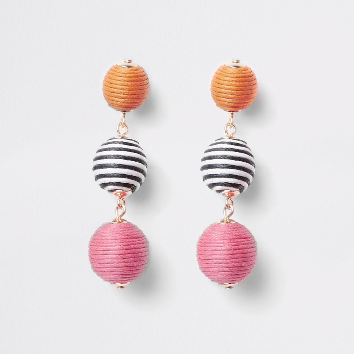 Girls pink RI Studio stripe ball earrings