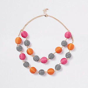 Girls orange RI Studio stripe ball necklace