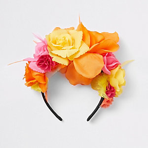 Girls pink RI studio floral headband
