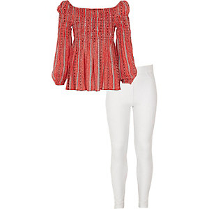 Girls red tile bardot top and leggings outfit