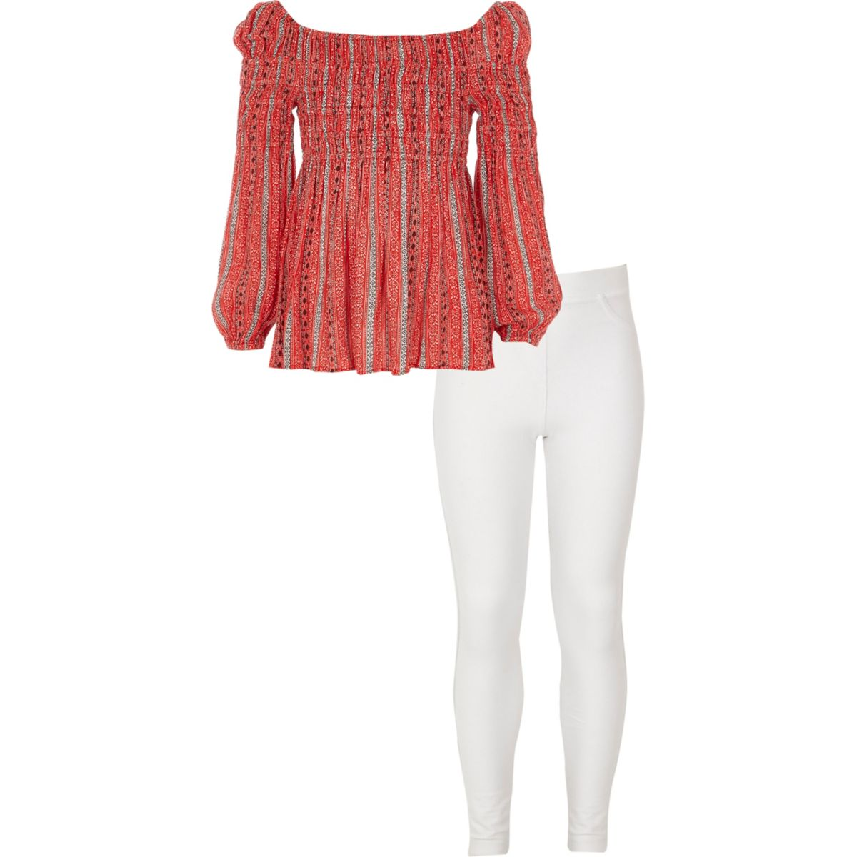 Ensemble leggings et top Bardot imprimé carrelage rouge pour fille