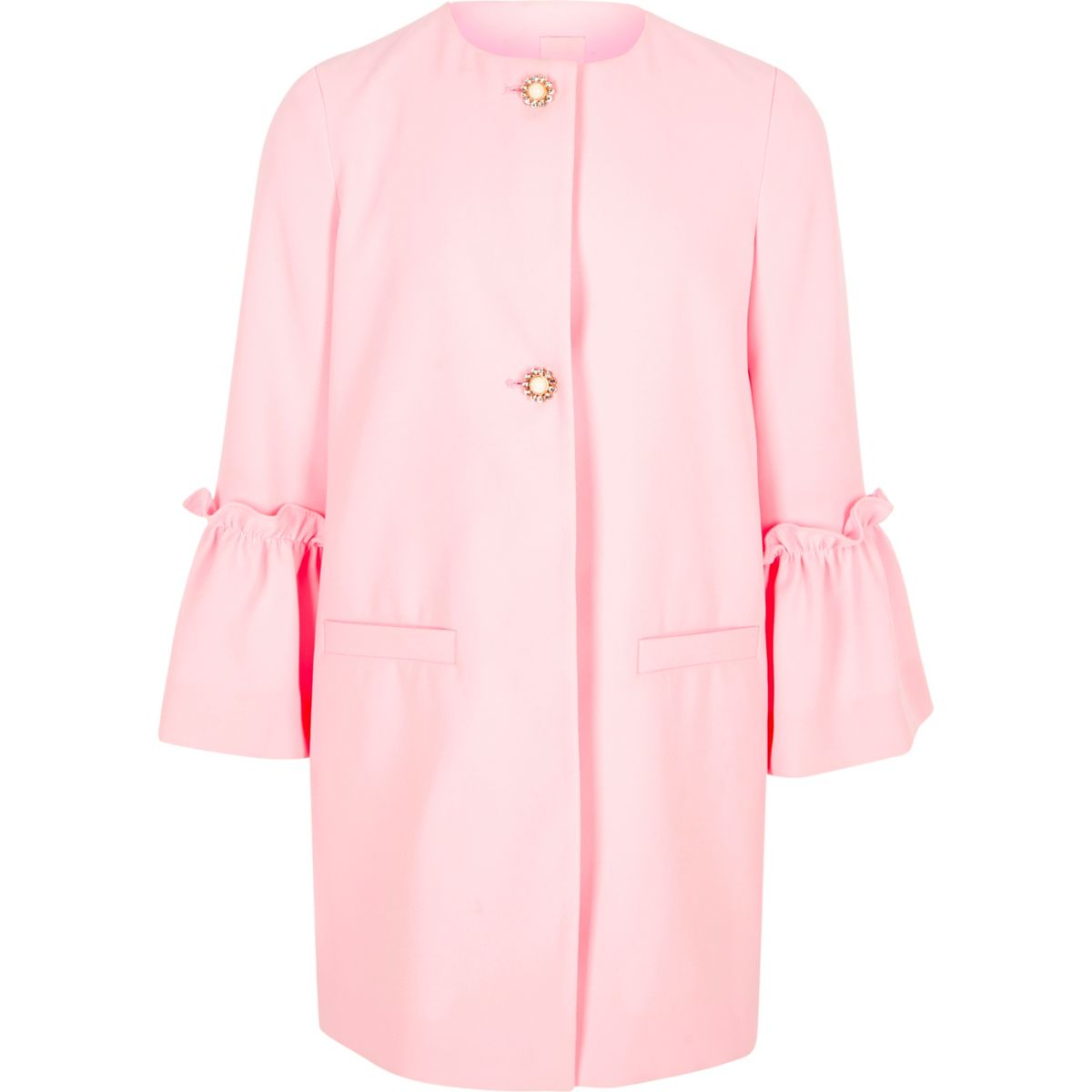 Girls light pink frill cuff pearl button coat