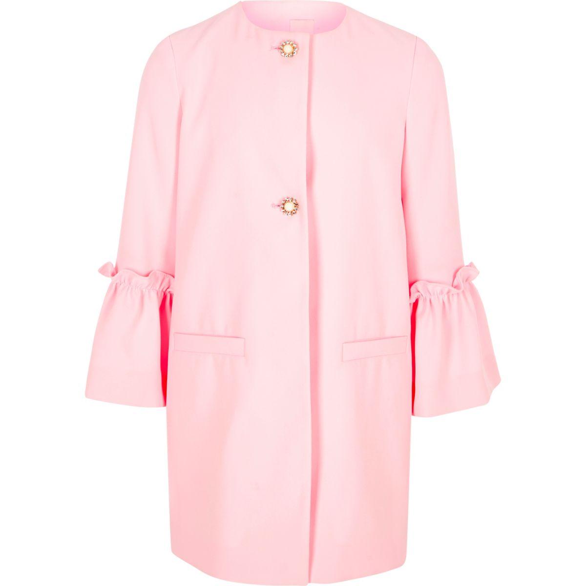 Girls light pink frill cuff pearl button coat