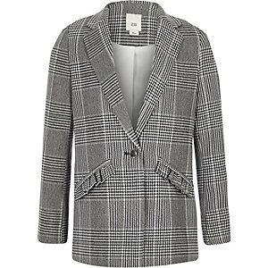 Girls black check frill pocket blazer