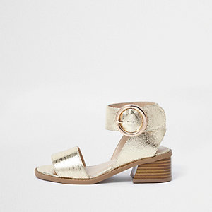 Girls gold metallic flared heel sandals