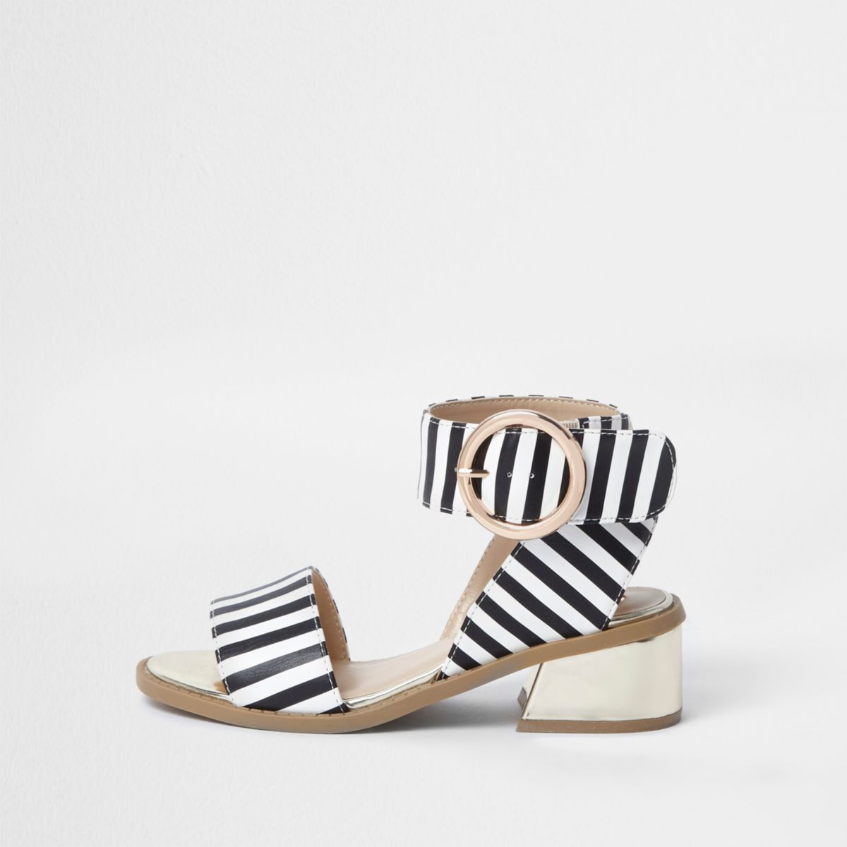 Girls black stripe flared heel sandals