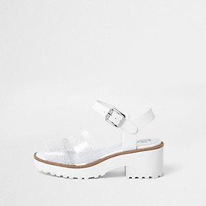 Girls silver glitter chunky sandals