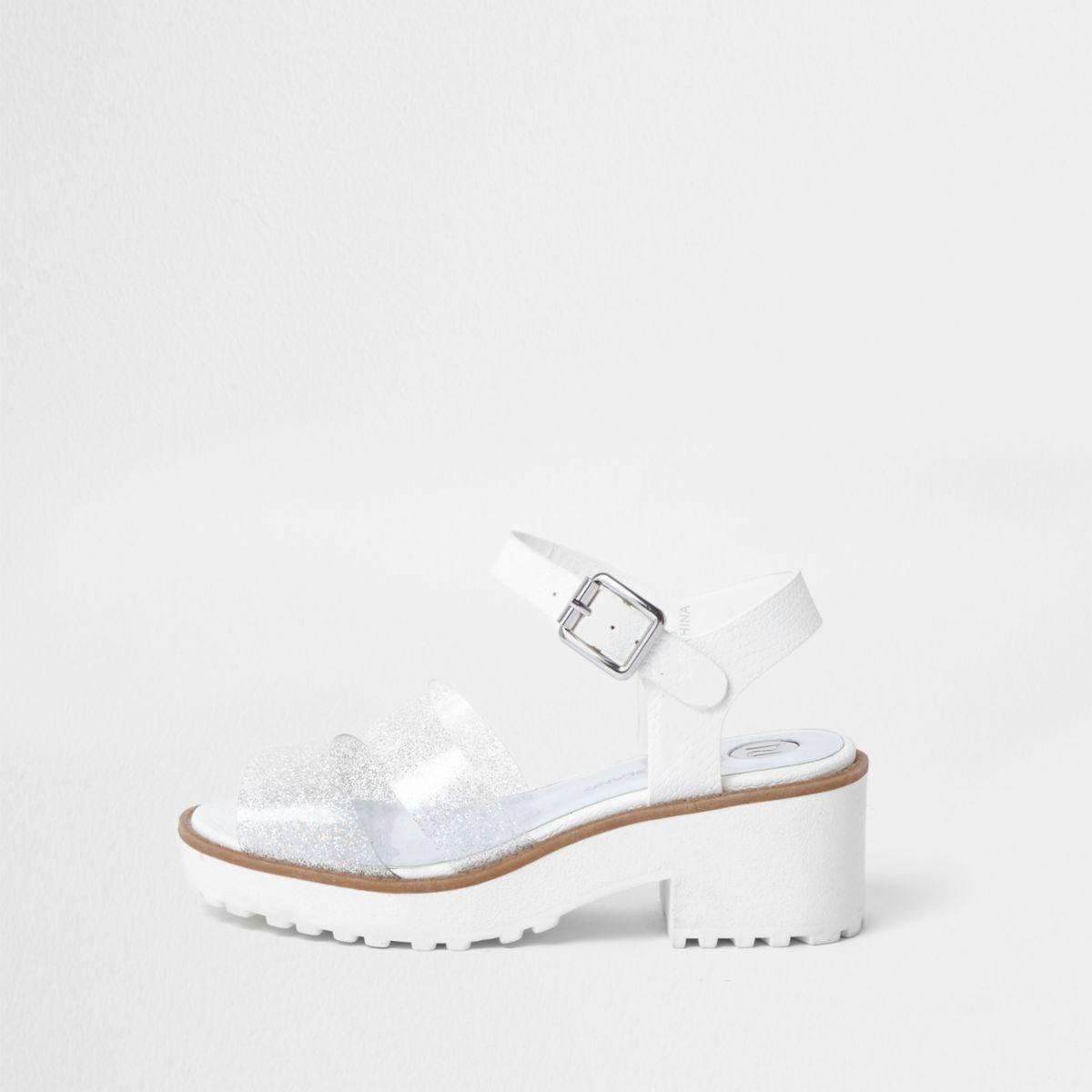 Sandales épaisses argentées à paillettes pour fille