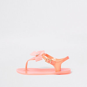 Girls orange rhinestone bow jelly sandals
