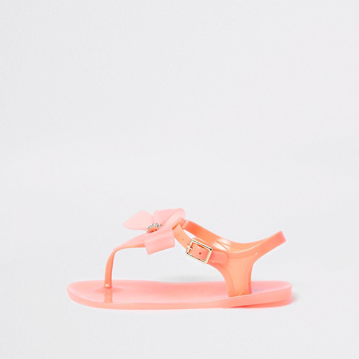 Jelly-Sandalen mit Zierschleife und Strassverzierung in Orange