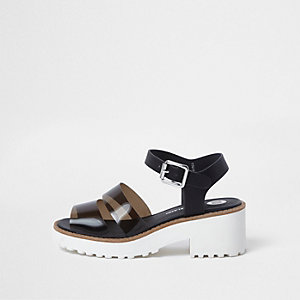 Girls black jelly strap chunky sandals