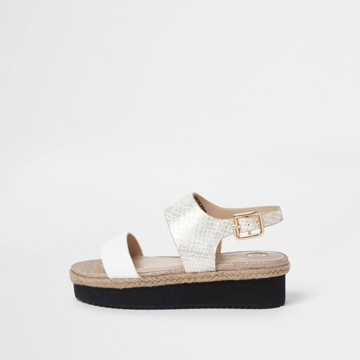 Girls white snake embossed flatform sandals
