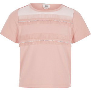 Girls light pink rhinestone mesh trim T-shirt