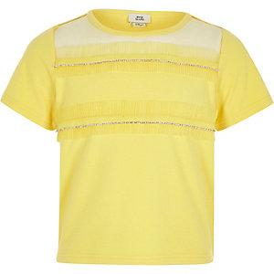 Geel T-shirt met diamantjes en rand van mesh voor meisjes