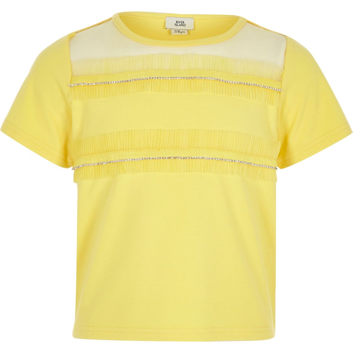Girls yellow rhinestone mesh trim T-shirt