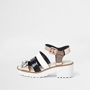 Sandales noires ornées à semelle épaisse pour fille