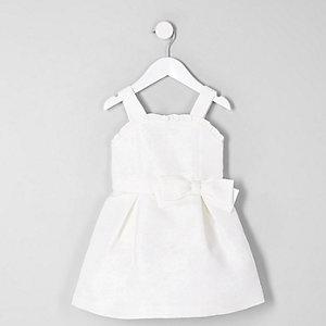 Mini - Witte jacquard bruidsmeisjesjurk voor meisjes