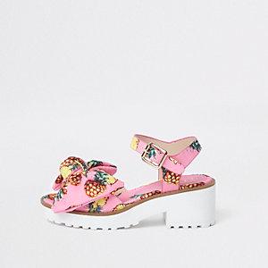 Sandales motif ananas roses épaisses pour fille