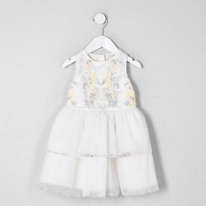 Mini girls cream embellished tiered dress
