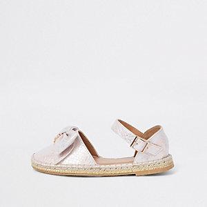 Rosa Espadrille-Sandalen in Schlangenlederoptik