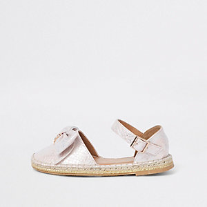 Girls pink snake print bow espadrille sandals