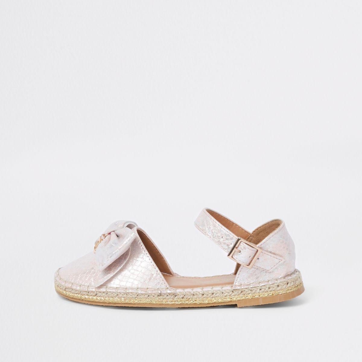Girls pink snake print bow espadrille sandals
