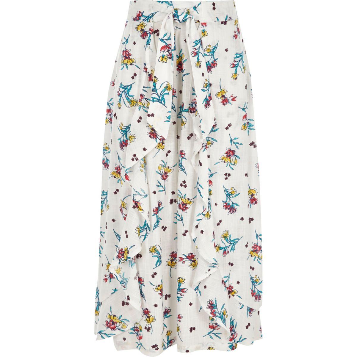 Girls white floral wrap wide leg trousers