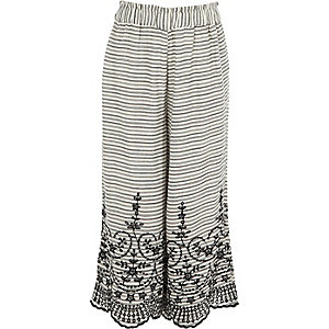 Girls white stripe broderie wide leg trousers