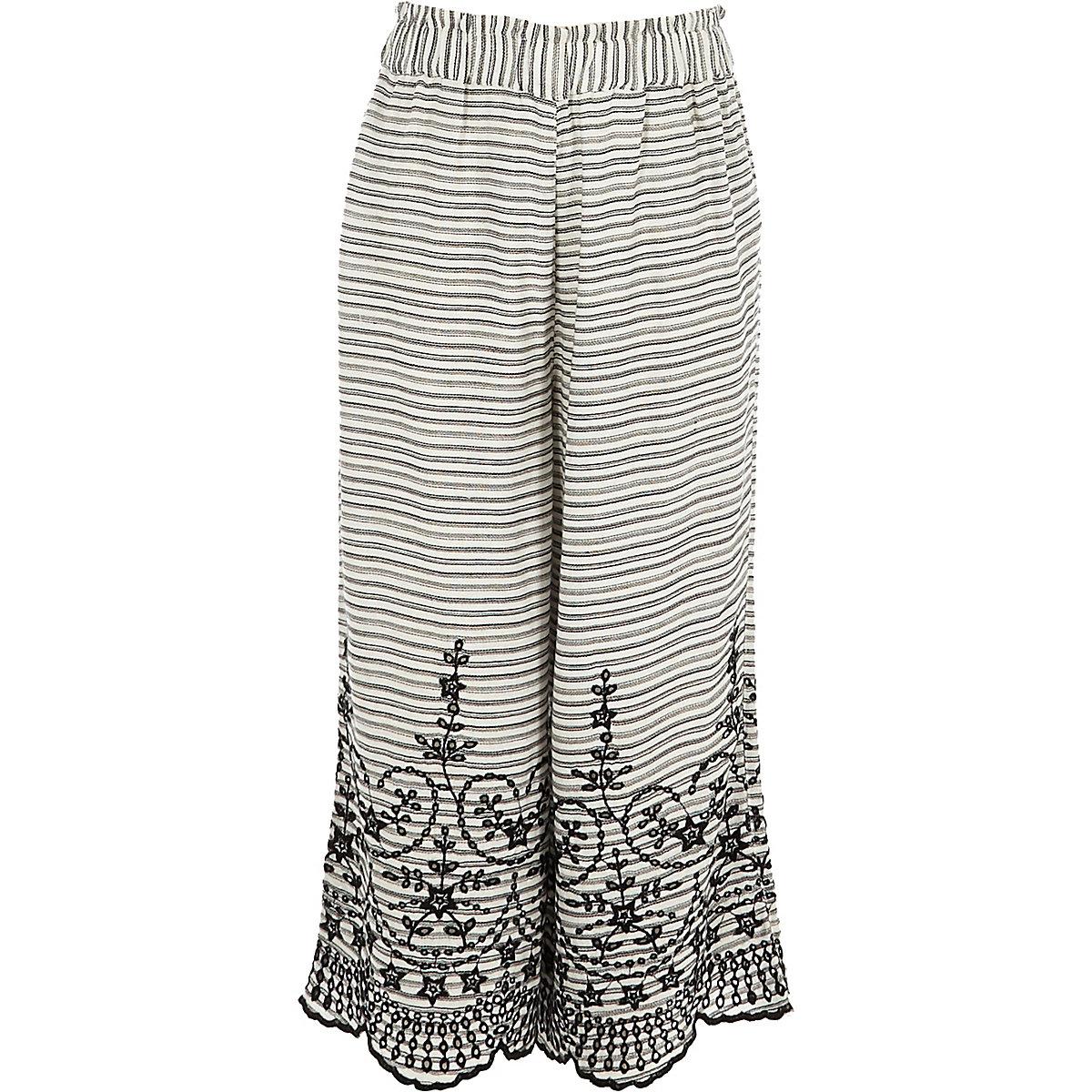 Girls white stripe broderie wide leg pants