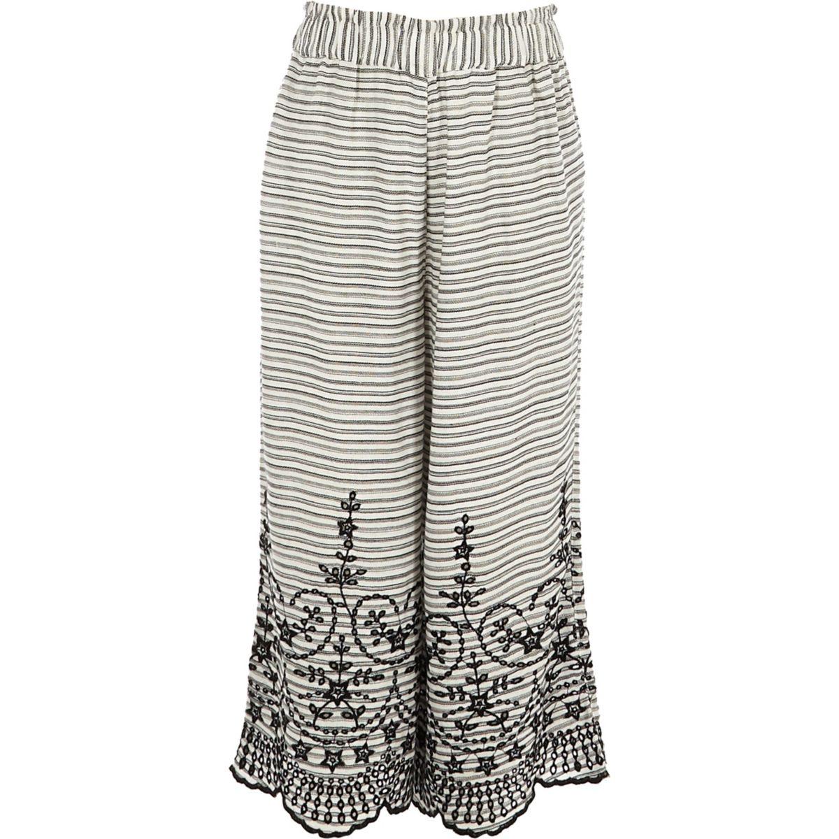 Girls white stripe broderie wide leg trousers