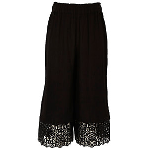 Girls black crochet hem wide leg trousers