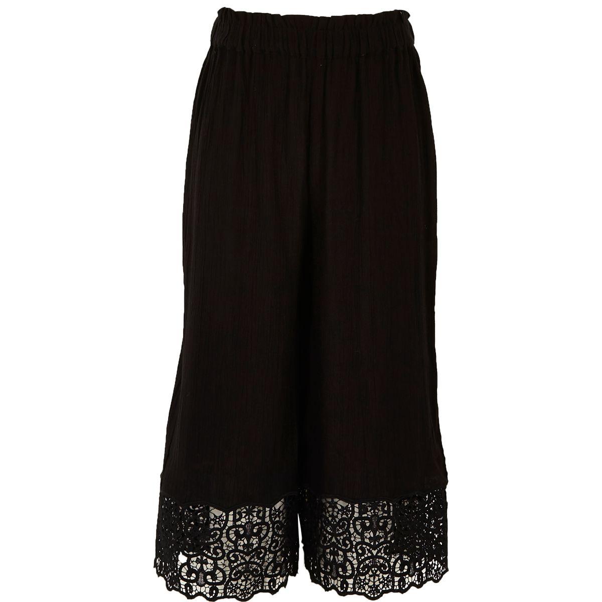 Girls black crochet hem wide leg trousers