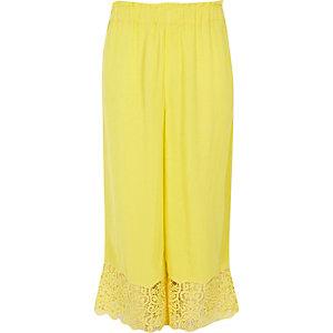 Girls yellow crochet hem wide leg trousers