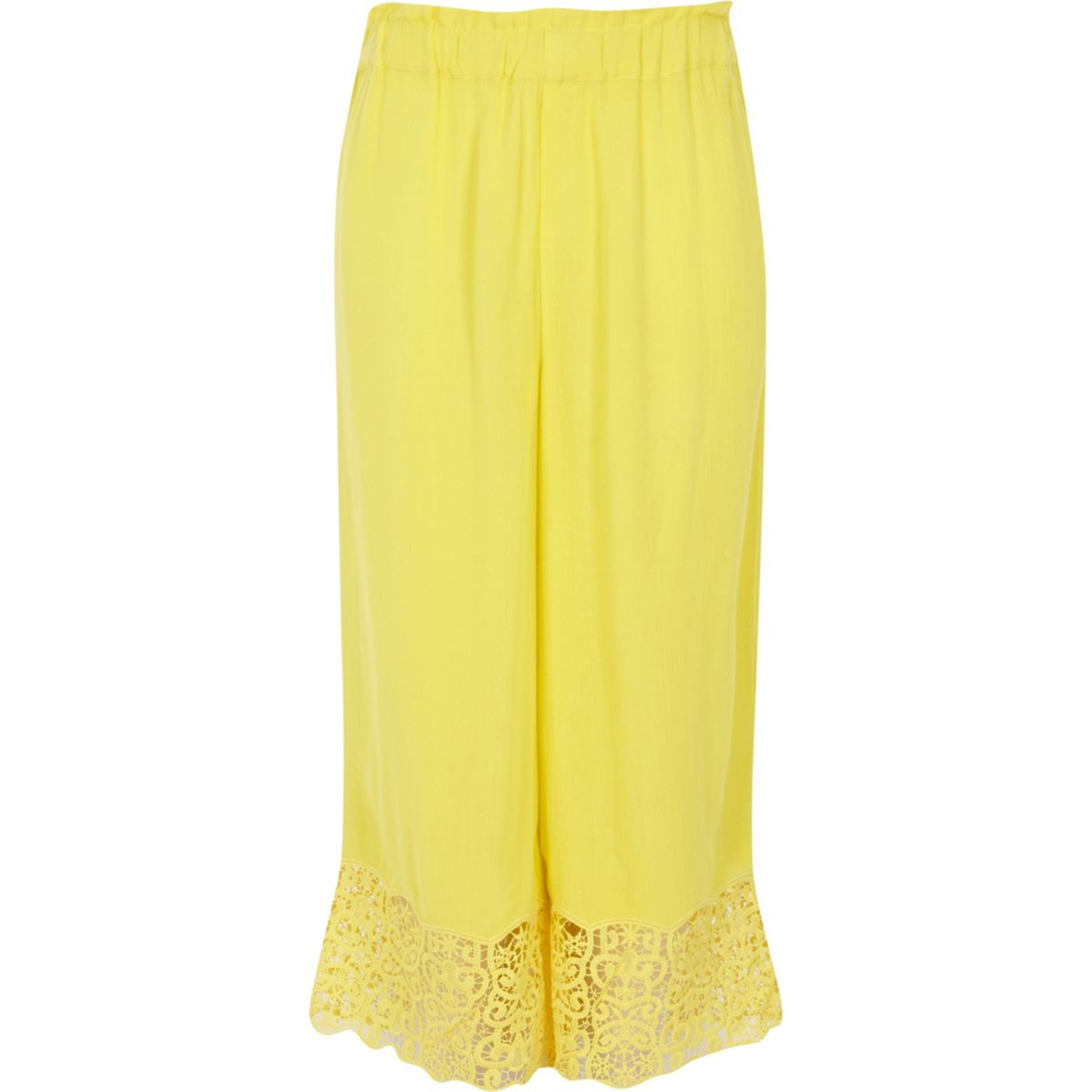 Girls yellow crochet hem wide leg pants