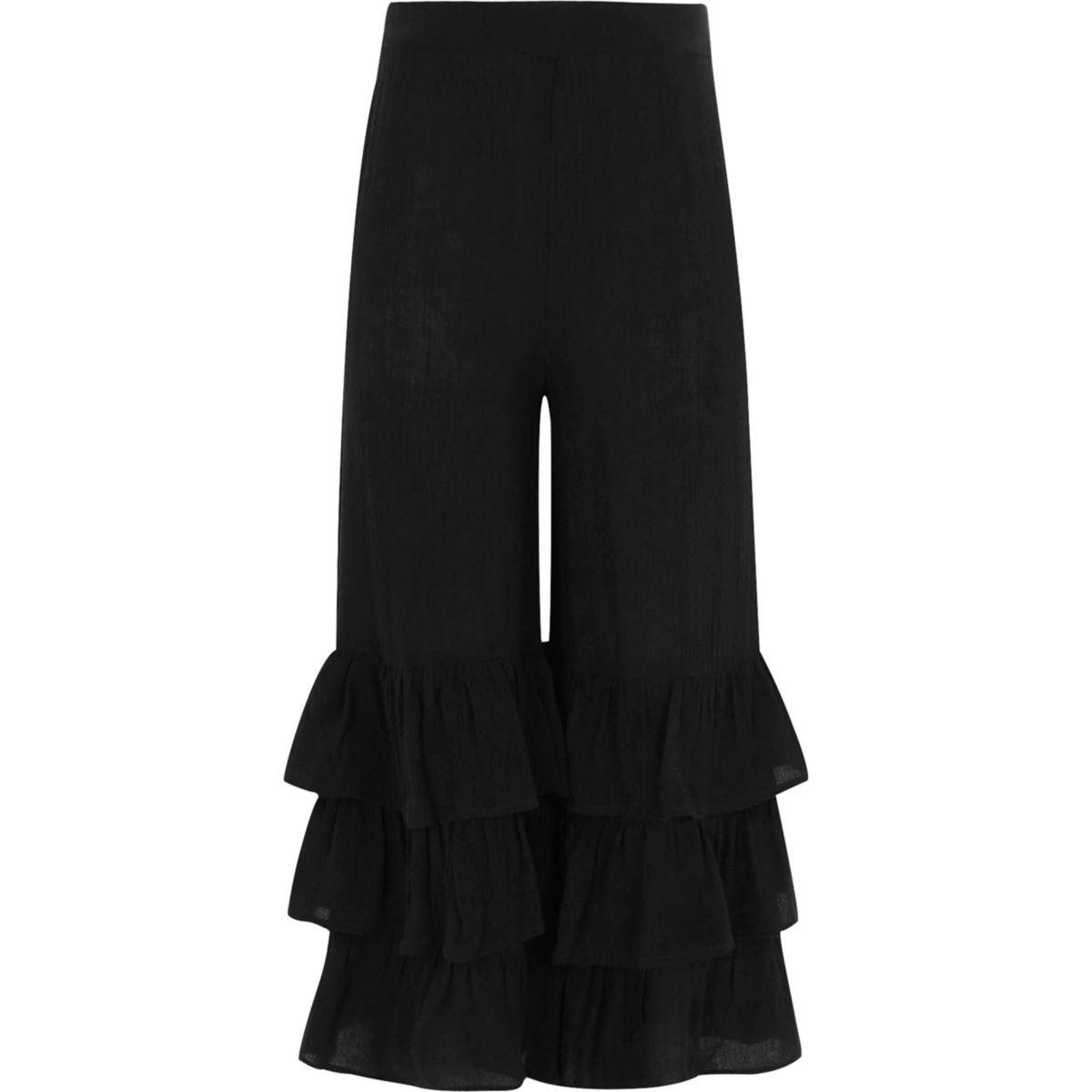Girls black tiered frill hem wide leg trouser