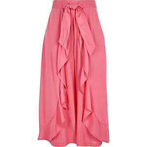 Girls pink frill wrap wide leg trousers