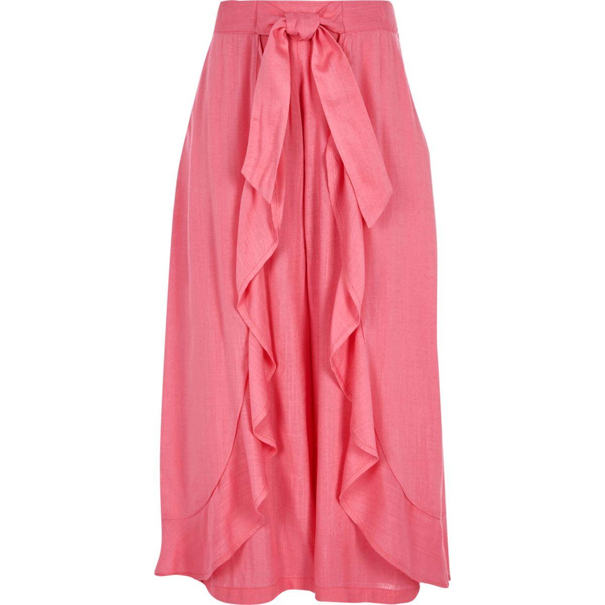 Girls pink frill wrap wide leg trousers