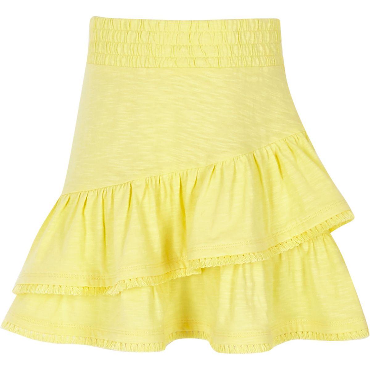 Girls yellow tassel hem skirt