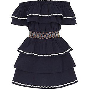 Marineblauwe bardot jurk met gesmokte taille en ruches voor meisjes