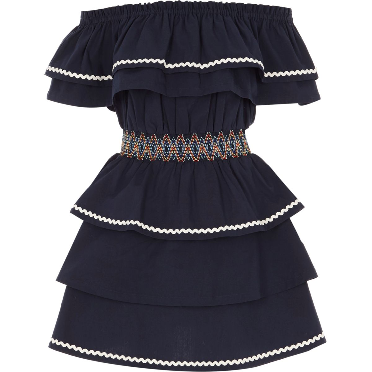 Girls navy shirred waist frill bardot dress