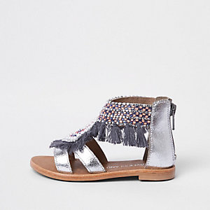 Mini girls silver fringe embellished sandals