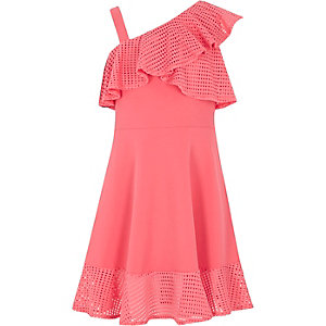 Girls coral pink mesh frill skater dress
