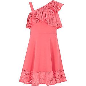 Girls coral pink mesh frill skater dress