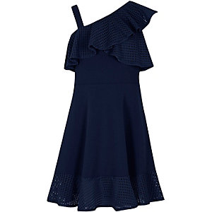 Girls navy asymmetric mesh frill skater dress